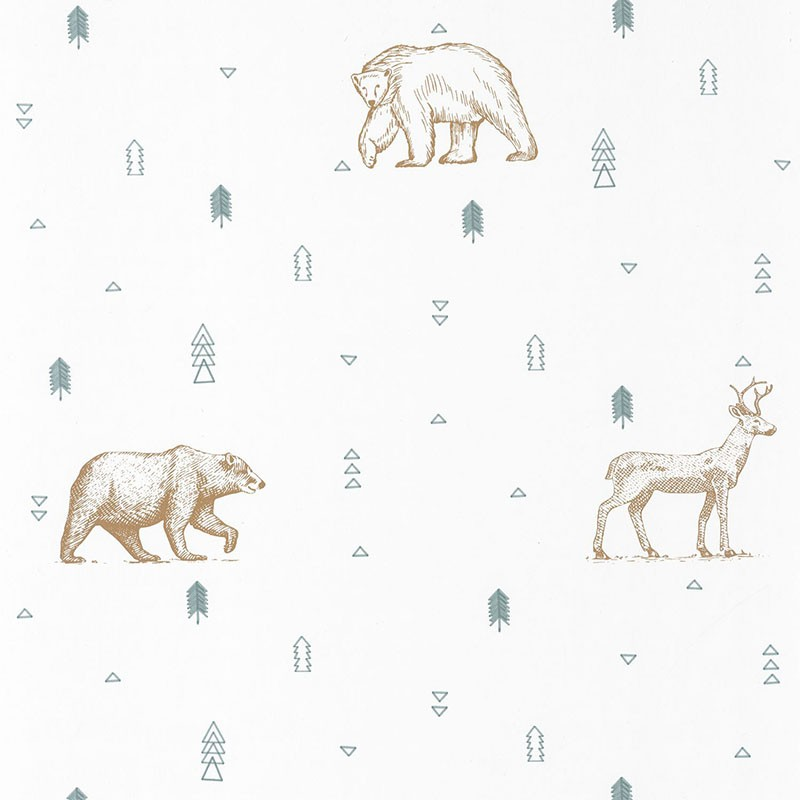 Papel pintado infantil Caselio Our Planet Grizzly Bears OUP101987112
