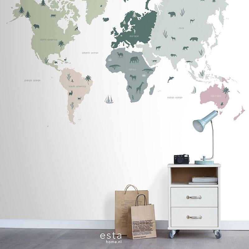 Mural infantil ESTAhome Let's Play!  Map of the World 153-158929