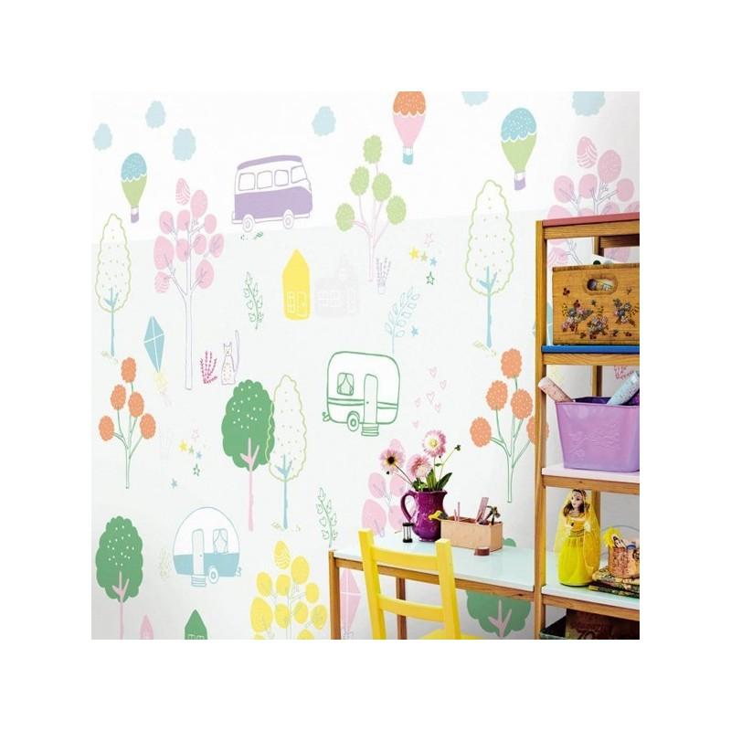 Mural eijffinger rice para habitacion juvenil parque for Mural habitacion juvenil