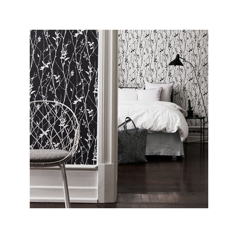Papel pintado black white eco papel para pared empapelar - Papel pintado negro ...