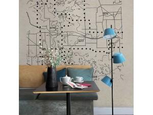 Mural Coordonné Random Papers Dots Maps 6500502N A