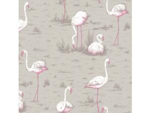Papel pintado Cole & Son Marquee Stripes Flamingos 66-6042