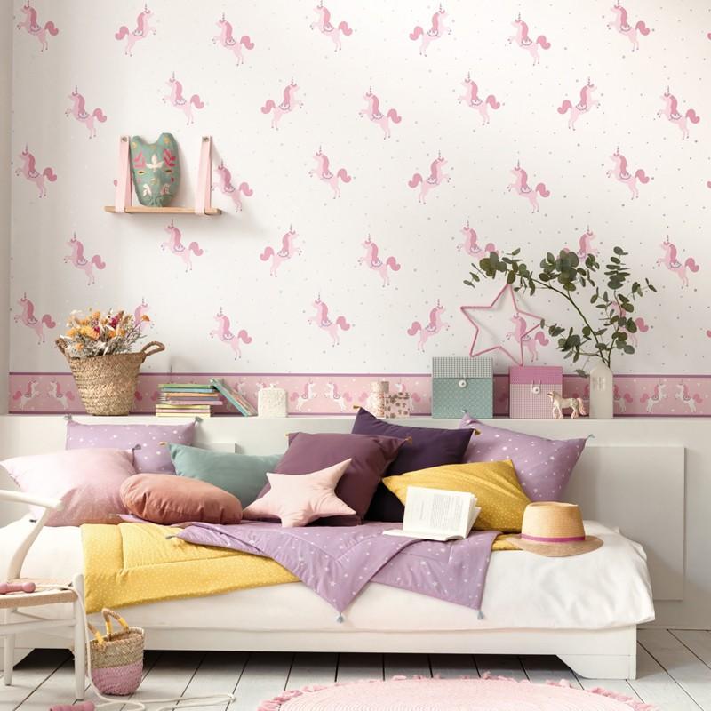 Papel pintado infantil Caselio Girl Power Princess Unicorns GPR100795402