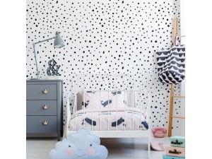 Papel pintado textil autoadhesivo AP Decoration Dots Black Mix