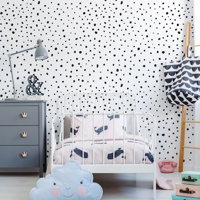 Papel pintado textil autoadhesivo AP Decoration Dots Black Mix