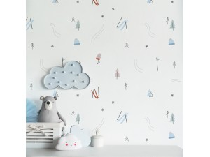 Papel pintado textil autoadhesivo AP Decoration A Day in the Snow